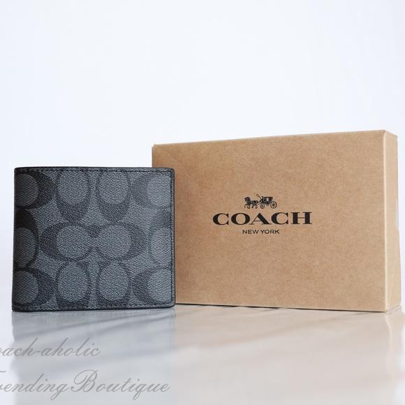 b4c917bced5a Coach F66551 Men s Double Billfold Wallet